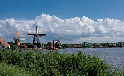 Biking the windmills at the Zaanse Schans, Zaandam, the Netherlands. Flickr:kismihok