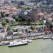 Aerial of Dordrecht in South Holland, the Netherlands. Wikimedia Commons:Joop van Houdt