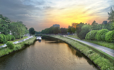 Sunset over the Leie River in Ghent, Belgium. Wikimedia Commons:Graham Richter