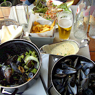 Mussels and fries is a favorite lunch in Belgium. Flickr:E and JS Film Crew