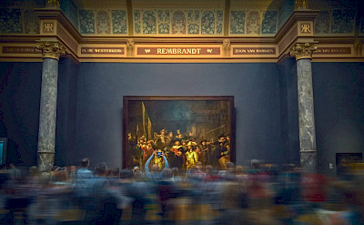 Rembrandt's famous Nightwatch at the Rijksmuseum in Amsterdam, the Netherlands.