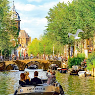 Canal tour in Amsterdam, North Holland, the Netherlands.