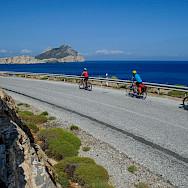 Biking on Amorgos Island, Greece. Photo via TO