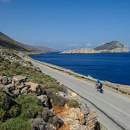 Cycling the coast of Amorgos Island, Greece. Photo via TO