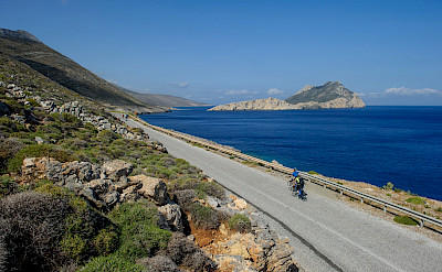 Cycling the coast of Amorgos Island, Greece. ©TO