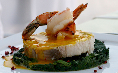 Rock salmon and shrimp with saffron sauce in Greece. Flickr:bongo vongo