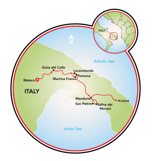 Matera to Lecce Food and Wine Map