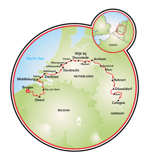 Bruges to Cologne Map
