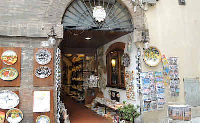 Shopping ceramics maybe in Siena, Italy. Flickr:Ajaygoyal