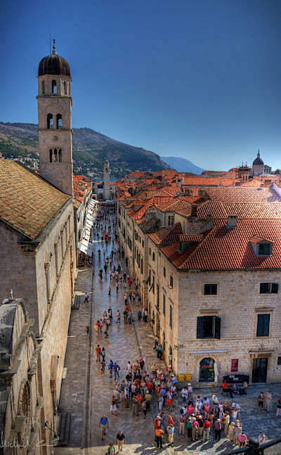 Famous shopping street in Dubrovnik, Croatia. Flickr:Michael Caven