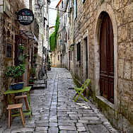 Old Town street in Stari Grad on Hvar Island, Croatia. Flickr:Jocelyn Erskine-Kellie
