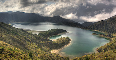 Crater lake at Lagoa do Fogo, Azores, Portugal. Flickr:Michael Caven
