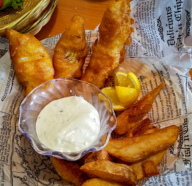 Fish & Chips fuel the Hike Tour along Hadrian's Wall in England. Flickr:Anna Fox
