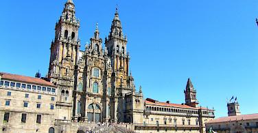 The western façade of the grand Cathedral of Santiago de Compostela in Galicia, Spain. Flickr:Jose Luis Cernadas Iglesias