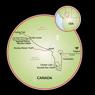 Classic Banff Hiking Tour Map