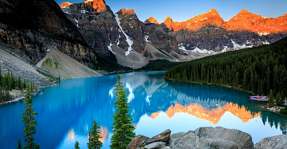 Sunrise at Moraine Lake. Photo via Flickr: Lauri Sten