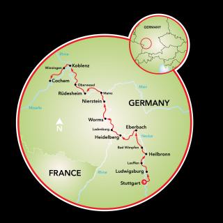 Stuttgart to Cochem Map