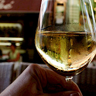 Enjoying some local Chassagne-Montrachet Chardonnay. Flickr:Megan Cole