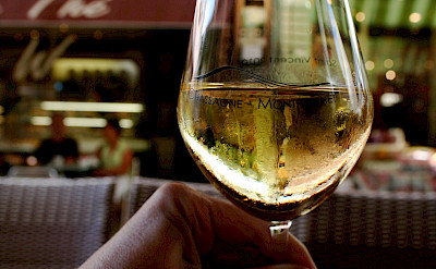 Enjoying some local Chassagne-Montrachet Chardonnay. Flickr:Megan Cole