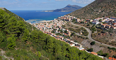 Coastal town of Buggerru at Capo Pecora, Costa Verde in Sardinia, Italy.