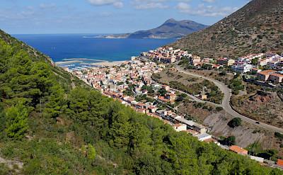 Coastal town of Buggerru at Capo Pecora, Costa Verde in Sardinia, Italy.