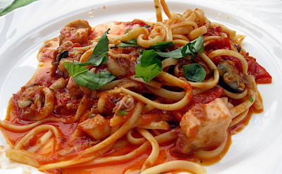 Seafood spaghetti in Sardinia, of course. Flickr:Alex Ranaldi