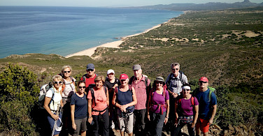 Group shot while hiking the Costa Verde Walking Tour in Sardinia, Italy.