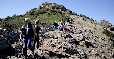 Some rocky terrain while hiking the Costa Verde Walking Tour in Sardinia, Italy.