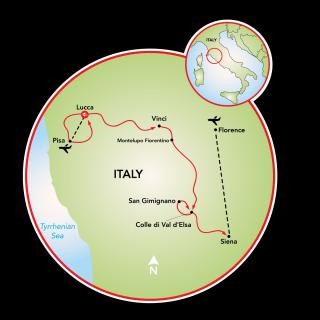 Best of Tuscany Bike Tour Map