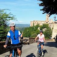 Enjoying the Tuscany Italy Bike Tour.