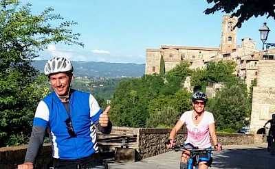 Enjoying the Tuscany Italy Bike Tour.