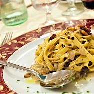Fine dining in Tuscany, Italy.