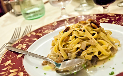Pasta with truffles in Tuscany, Italy.