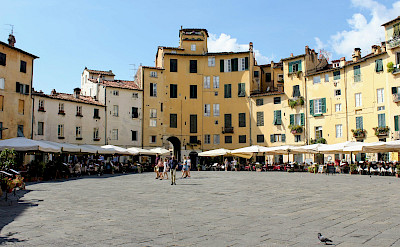 Piazza dell'Anfiteatro in Lucca, Tuscany, Italy.