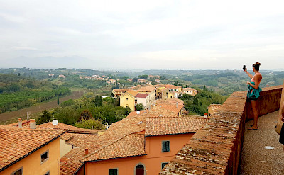 Characteristic orange roofs in Tuscany, Italy.