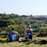 Taking a break on the Tuscany Italy Bike Tour.