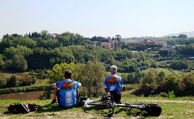 Taking a break on the Tuscany Italy Bike Tour.