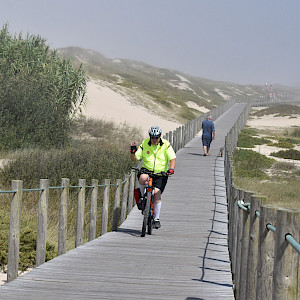 Just over the dunes is the north Atlantic Ocean. Some of these boardwalks were off-limits to cyclists, but this one was good.