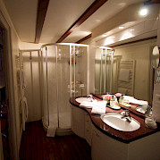 The spacious bathroom with double sinks | Bike & Boat Tours