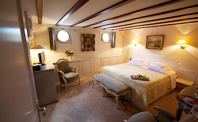 One of four identical cabins on the Aurora | Bike & Boat Tours