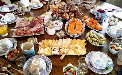 A typical breakfast feast on the Aurora | Bike & Boat Tours