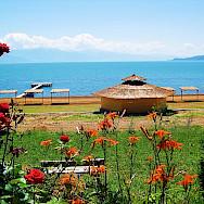 View from hotel balcony of Lake Prespa, Macedonia.