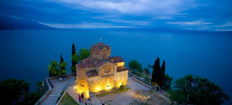 Church of St John overlooking Lake Ohrid in Ohrid, Macedonia. Flickr:Mike Norton
