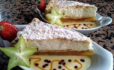 Custard cake on the Luxury Tulip Tour in Holland.