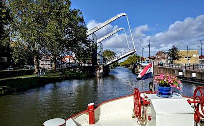 Past a bridge on the Luxury Tulip Tour in Holland.