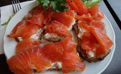 Salmon breakfast in Bergen, Norway. Flickr:Amanda