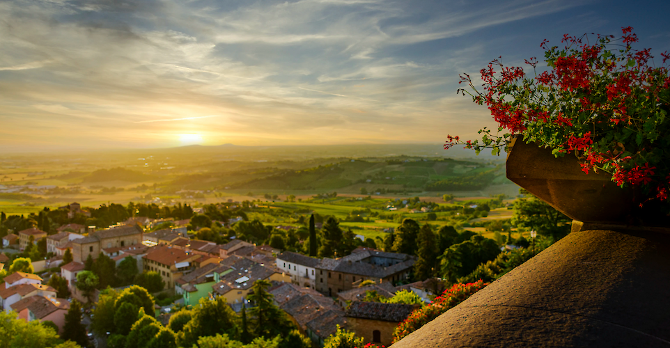 Landscape Panorama of Romagna lowlands viewed from Bertinoro terrace. Photo by Roberto GRAMELLINI