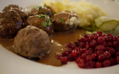 KöttBullar (Swedish meatballs) with lingonberry sauce in Stockholm, Sweden. Flickr:Rie H