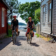 Biking through Tammisaari, Finland.