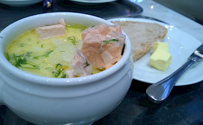 Salmon soup to fuel the hiking in Finland. Flickr:Pete